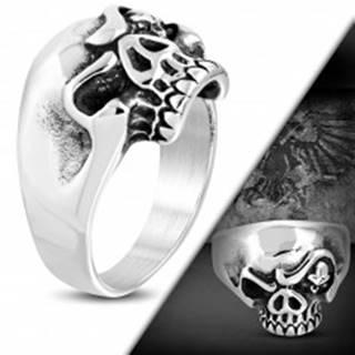 Masívny oceľový prsteň, patinovaná lebka s nahnevaným výrazom - Veľkosť: 53 mm