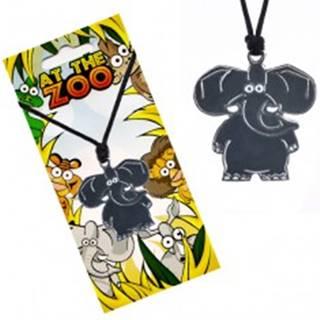 Náhrdelník s príveskom zvieratka, lesklý sivý slon, šnúrka