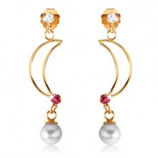 Náušnice v žltom 9K zlate - lesklý obrys polmesiaca s rubínom, biela perla