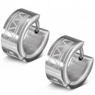 Náušnice z 316L ocele, gravírované krúžky s trojuholníkmi