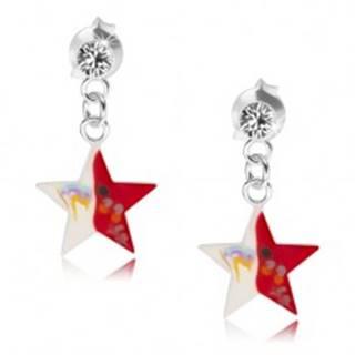 Náušnice zo striebra 925, číry krištálik, červeno-biela hviezda s dekoráciou