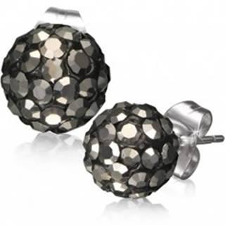 Oceľové náušnice Shamballa - čierne guličky, sivé brúsené kamienky, 8 mm
