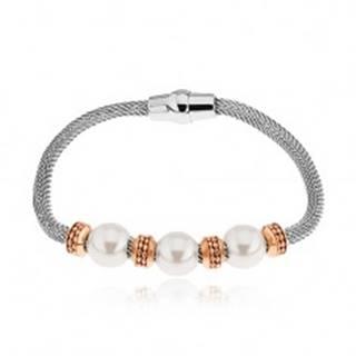 Oceľový náramok, kolieska v medenom odtieni, korálky s perleťovým leskom