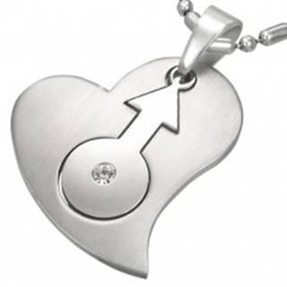Oceľový prívesok so srdcom a znakom pohlavia