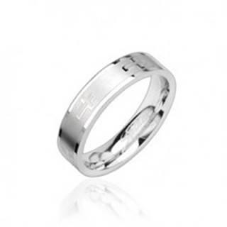 Oceľový prsteň lesklý, krížiky - Veľkosť: 49 mm