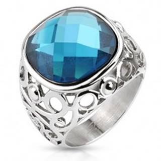 Oceľový prsteň, ramená zdobené filigránom, modrý brúsený kameň - Veľkosť: 49 mm