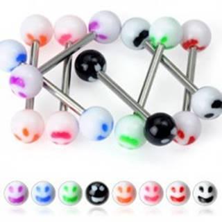 Piercing do jazyka - farebný smajlík - Farba piercing: Biela