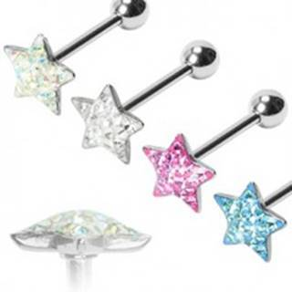 Piercing do jazyka Trblietavá hviezda - Farba piercing: Aqua