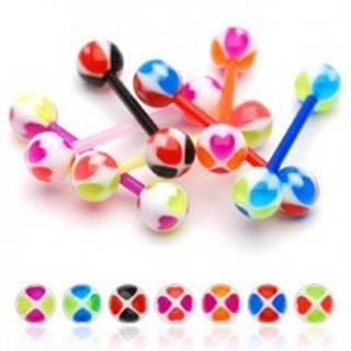 Piercing do jazyka veselá gulička, farebné srdiečka - Farba piercing: Fialová - Ružová - AP