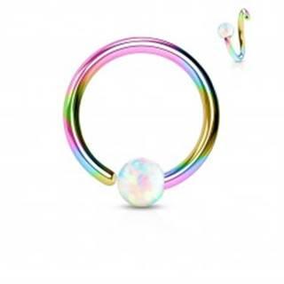 Piercing z chirurgickej ocele, lesklý dúhový krúžok s opálovou guličkou - Hrúbka x priemer x veľkosť guličky: 0,8 x 10 x 2 mm