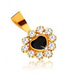 Prívesok v žltom 9K zlate - zafírové srdce a zirkónová obruba čírej farby