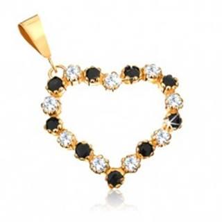Prívesok zo žltého 9K zlata - obrys srdca s čírymi zirkónmi a čiernymi zafírmi