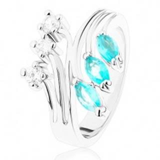 Prsteň s rozvetvenými ramenami, zirkóny čírej a akvamarínovej farby - Veľkosť: 49 mm