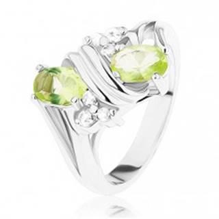 Prsteň v striebornom odtieni, lesklá dvojitá špirála, svetlozelené a číre zirkóny - Veľkosť: 52 mm