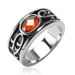 Prsteň z chirurgickej ocele - oranžový kamienok a ornamenty - Veľkosť: 59 mm