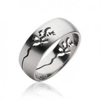 Prsteň z chirurgickej ocele - vyrytá jašterička - Veľkosť: 59 mm