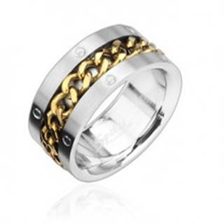 Prsteň z ocele s reťazou zlatej farby - Veľkosť: 58 mm