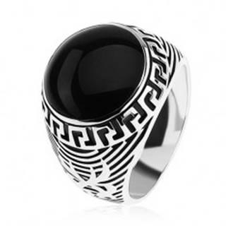 Prsteň zo striebra 925, čierny glazúrovaný kruh, ornament gréckeho kľúča - Veľkosť: 54 mm
