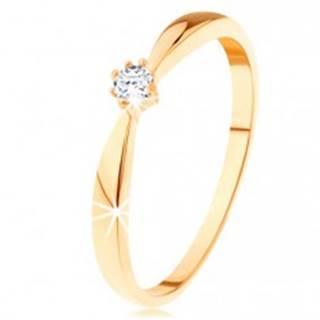 Prsteň zo žltého 14K zlata - zaoblené ramená, okrúhly diamant čírej farby - Veľkosť: 49 mm