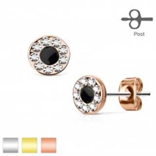 Puzetové náušnice z ocele 316L, kruh s čiernym stredom a zirkónovou obrubou - Farba: Medená