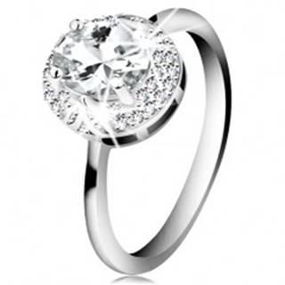 Ródiovaný prsteň zo striebra 925, veľký číry zirkónový ovál, lístočky - Veľkosť: 49 mm