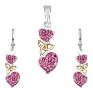 Strieborná sada 925 - náušnice a prívesok, ružové srdcia, keltský uzol