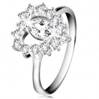 Strieborný 925 prsteň, brúsené zirkónové zrnko, srdcový obrys, číre zirkóny - Veľkosť: 47 mm
