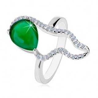 Strieborný 925 prsteň - veľká zelená slza zo zirkónu, číra asymetrická kontúra - Veľkosť: 50 mm