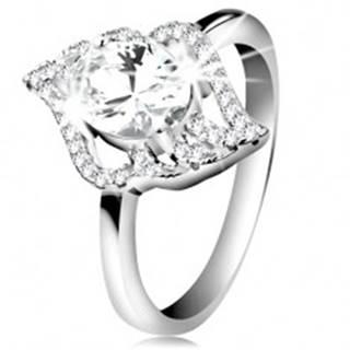 Strieborný prsteň 925, kontúra číreho lístka s veľkým oválnym zirkónom - Veľkosť: 47 mm