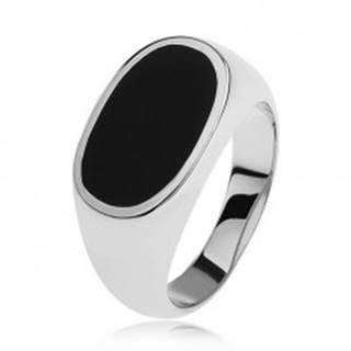 Strieborný prsteň 925, ovál s čiernou glazúrou, lesklé a rozšírené ramená - Veľkosť: 54 mm