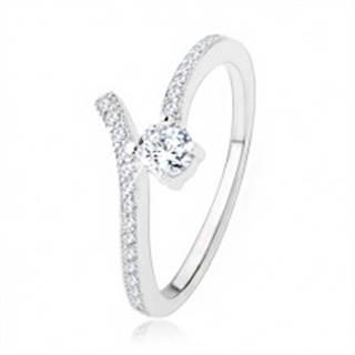 Strieborný zásnubný prsteň 925, rozdvojené ramená, číre zirkóny - Veľkosť: 51 mm