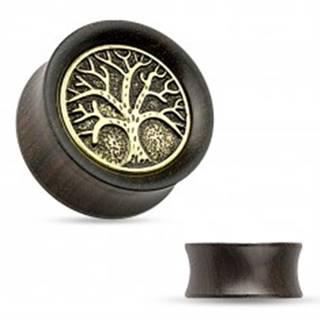 Tunel do ucha z ebenového dreva, vyrezávaný košatý strom, čierna patina - Hrúbka: 10 mm