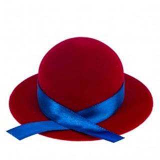 Zamatová krabička na prsteň alebo náušnice - červený klobúk