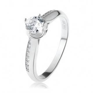 Zásnubný prsteň, striebro 925, oblé zdobené ramená, číry okrúhly zirkón - Veľkosť: 49 mm