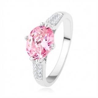 Zásnubný strieborný prsteň 925, oválny ružový zirkón, číre drobné zirkóniky - Veľkosť: 48 mm