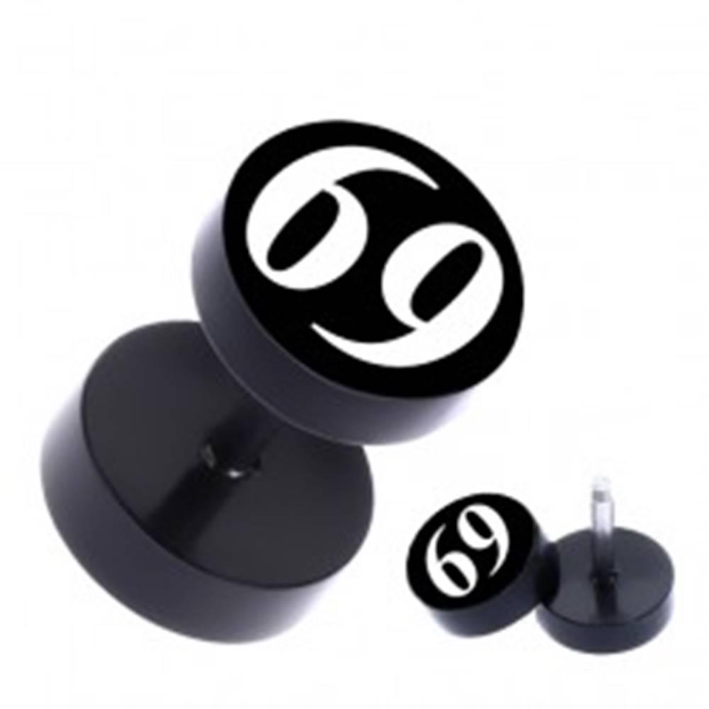 """Šperky eshop Čierny okrúhly fake piercing do ucha z ocele s číslom """"69"""""""