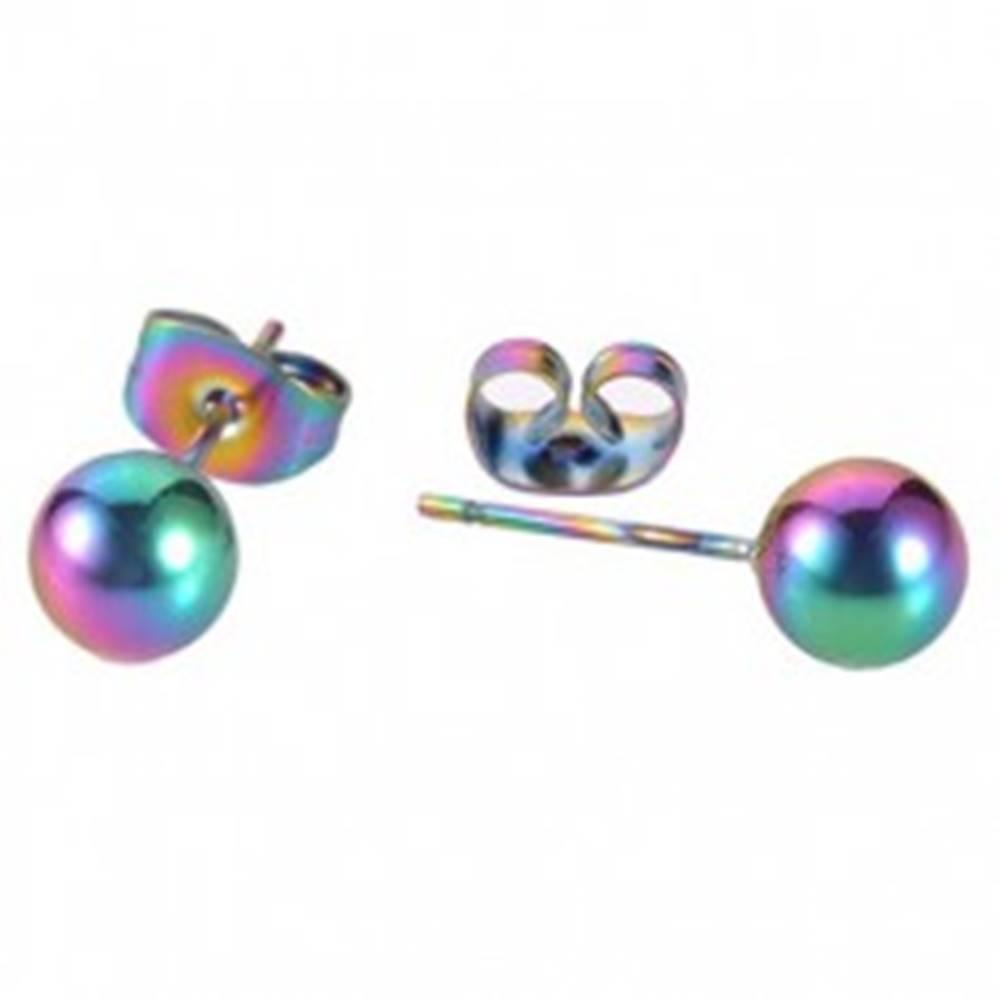 Šperky eshop Dúhové náušnice z ocele 316L - gulička, puzetové zapínanie - Hlavička: 4 mm