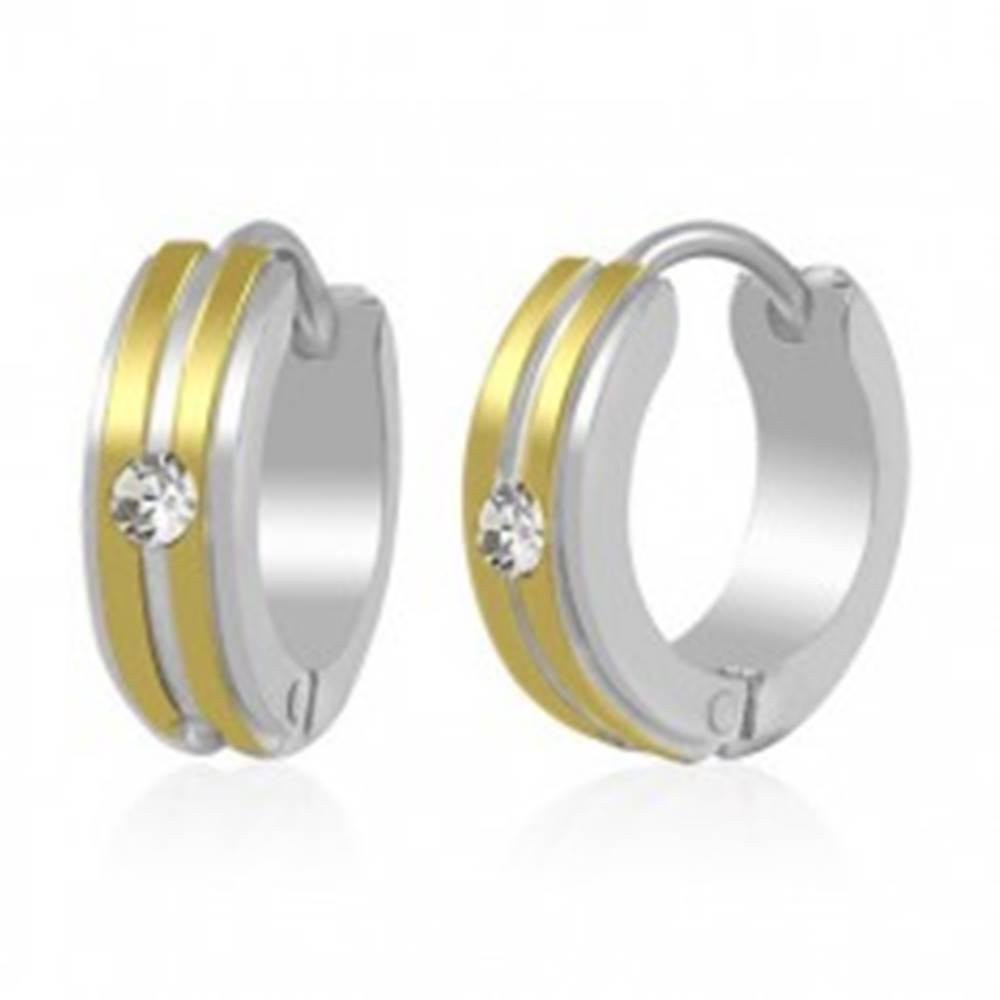 Šperky eshop Dvojfarebné oceľové náušnice - krúžky, dva pruhy zlatej farby a číry zirkón