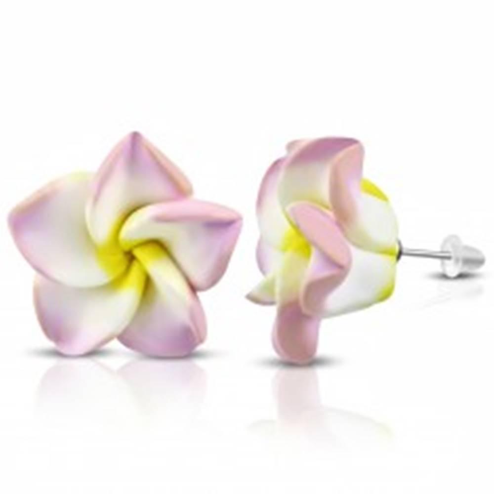 Šperky eshop Fimo náušnice, ružovo-biely kvietok so žltým stredom