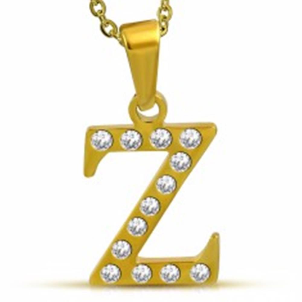 Šperky eshop Lesklý oceľový prívesok zlatej farby, písmeno Z vykladané čírymi zirkónmi