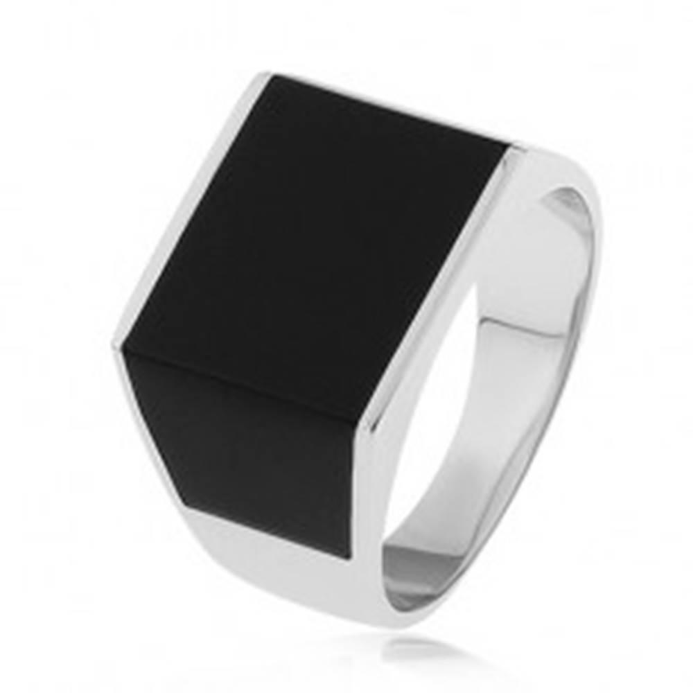 Šperky eshop Lesklý prsteň zo striebra 925, obdĺžnik a lichobežníky s čiernou glazúrou  - Veľkosť: 54 mm
