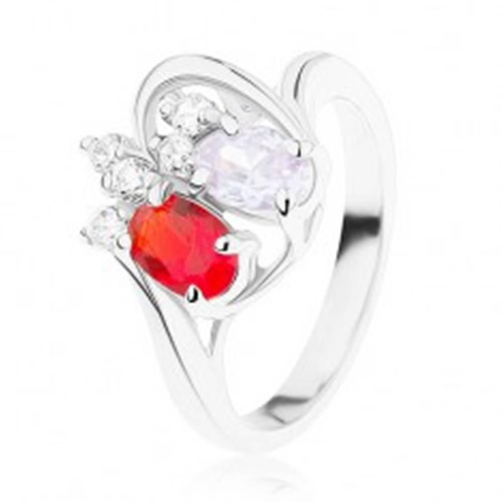 Šperky eshop Ligotavý prsteň z ocele, červený a fialový zirkónový ovál, číre zirkóniky - Veľkosť: 49 mm