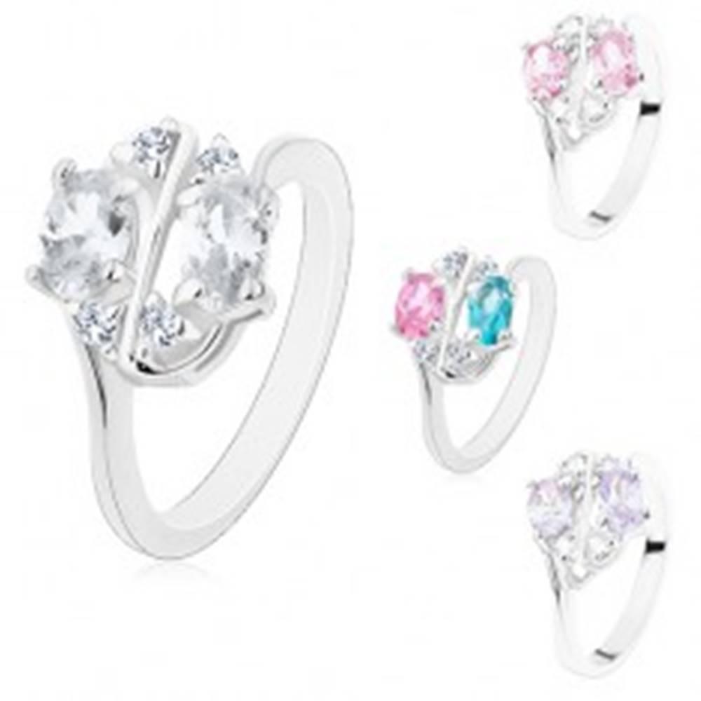Šperky eshop Ligotavý prsteň zdobený farebnými zirkónovými oválmi a čírymi zirkónikmi - Veľkosť: 50 mm, Farba: Ružová