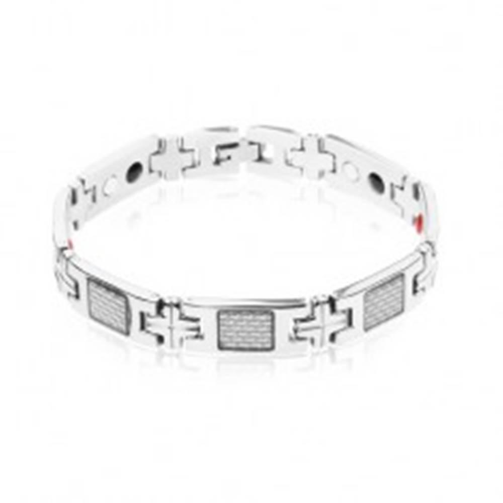 Šperky eshop Magnetický náramok z ocele, lesklé články striebornej farby, pletený vzor