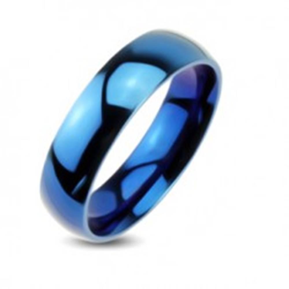 Šperky eshop Modrá kovová obrúčka - hladký prsteň so zrkadlovým leskom - Veľkosť: 48 mm