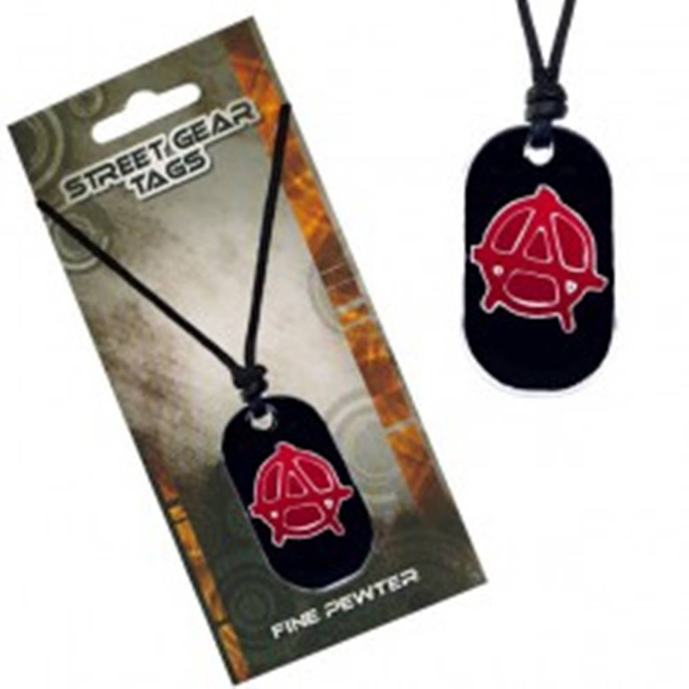 Šperky eshop Náhrdelník na šnúrke, čierna známka so symbolom anarchie