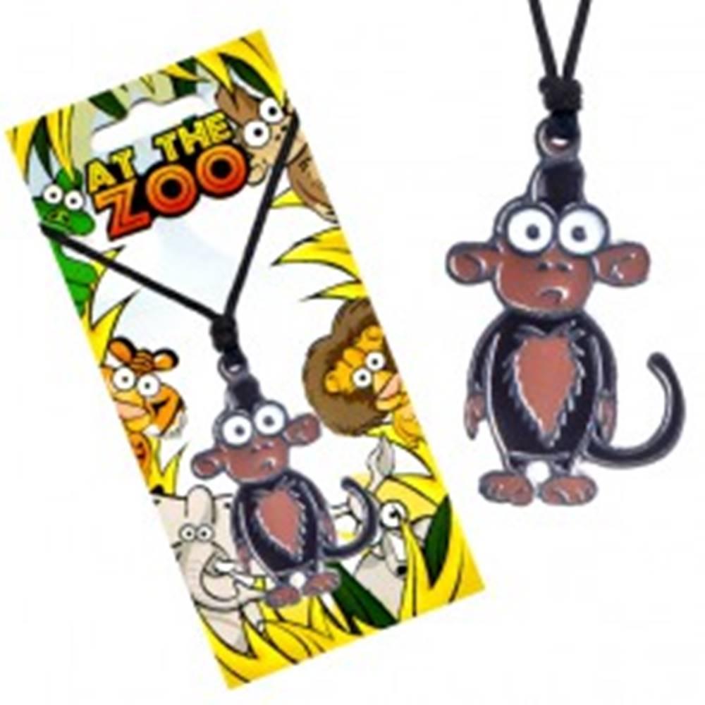 Šperky eshop Náhrdelník na šnúrke, trojfarebný prívesok opice
