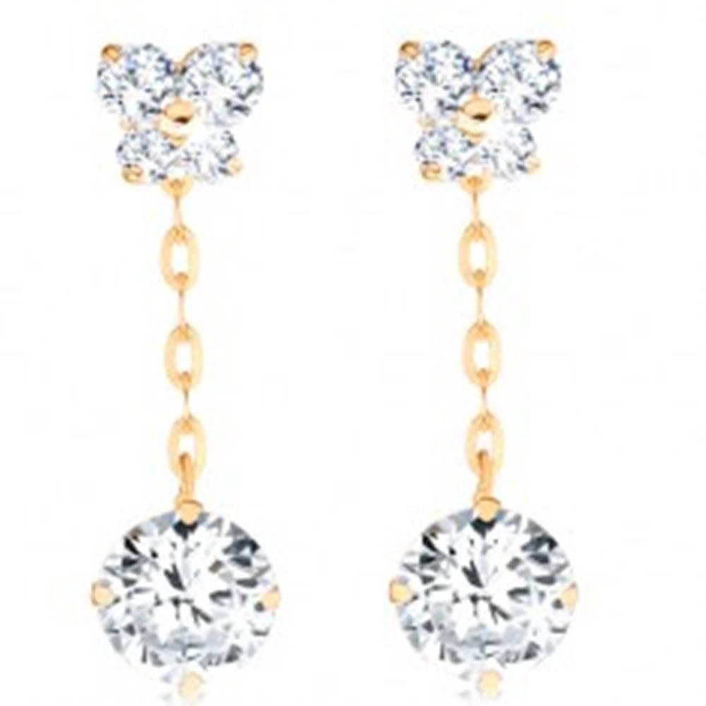 Šperky eshop Náušnice v žltom 14K zlate - číry zirkónový motýľ, okrúhly zirkón na retiazke