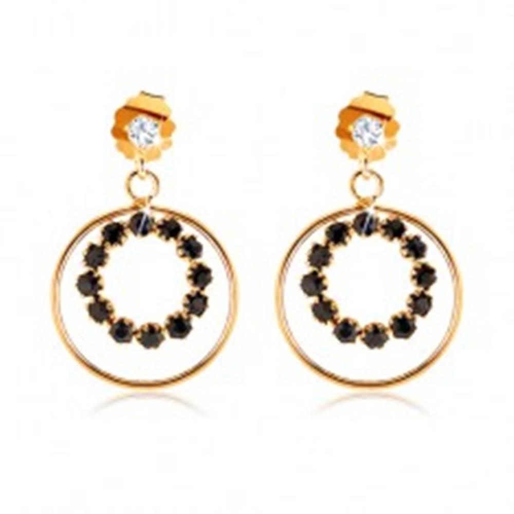Šperky eshop Náušnice v žltom 9K zlate - tenká obruč a zafírová kontúra kruhu, číry zirkón