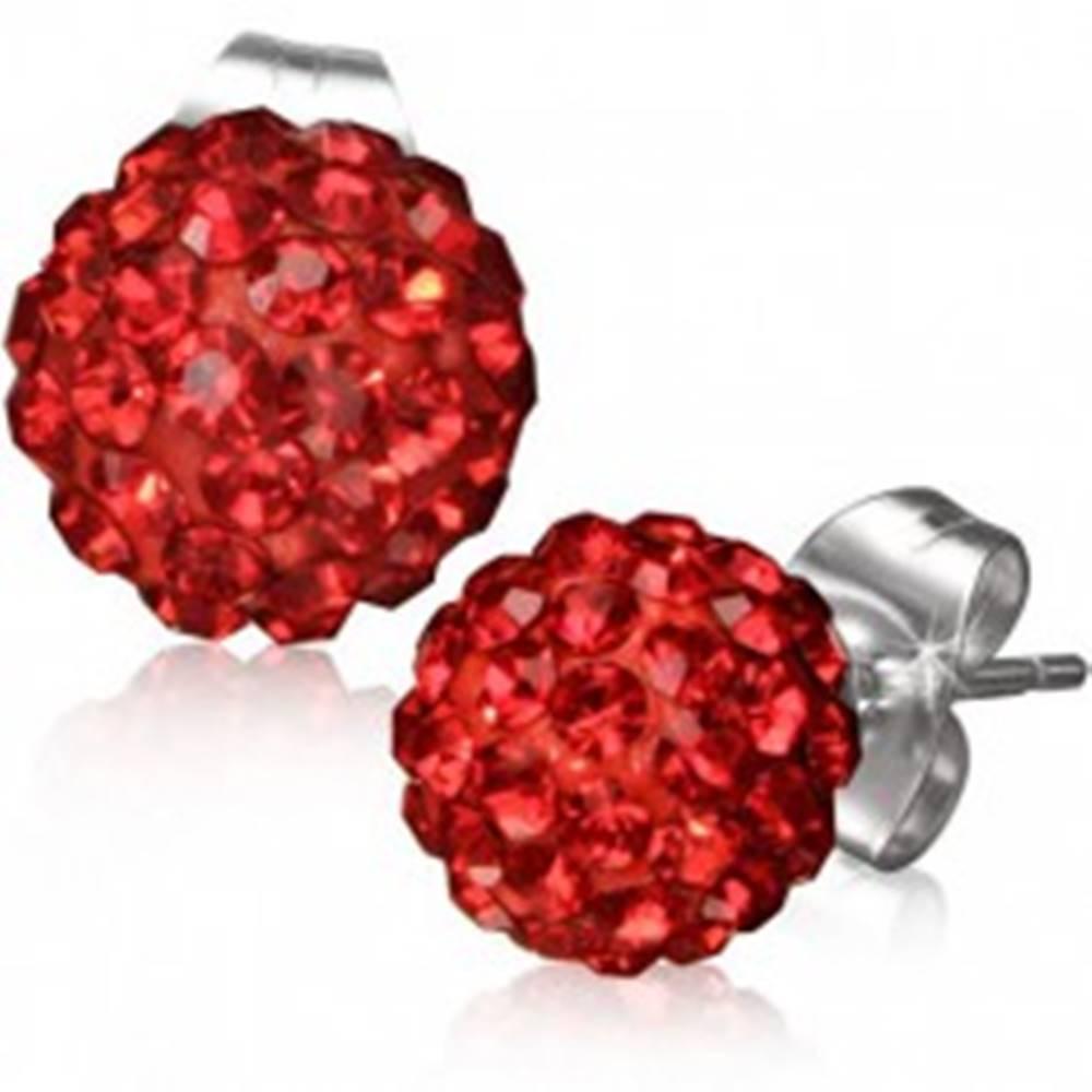 Šperky eshop Náušnice z ocele 316L, červené Shamballa guľôčky, ligotavé zirkóny, 8 mm